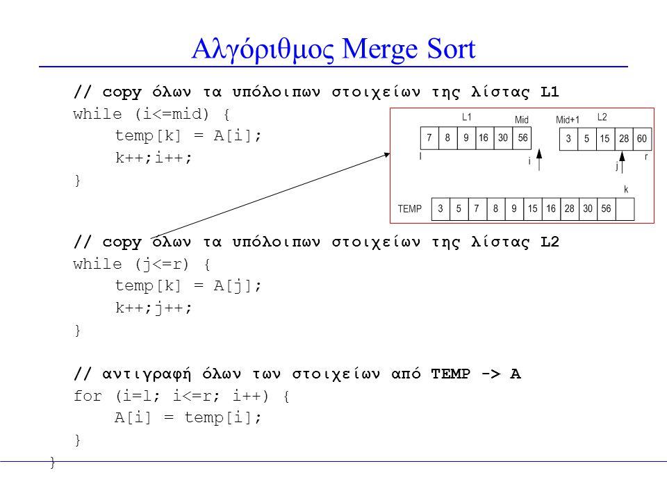Αλγόριθμος Merge Sort // copy όλων τα υπόλοιπων στοιχείων της λίστας L1. while (i<=mid) { temp[k] = A[i];
